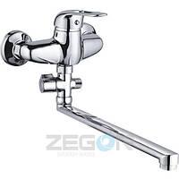 Смеситель для ванны Zegor EZS (EZS-A071) однорычажный с душем с длинным изливом цвет хром