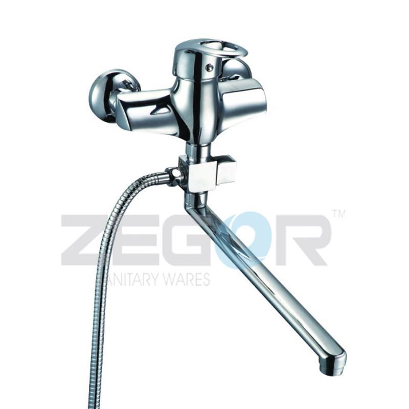 Смеситель для ванны Zegor GFA (GFA-A373) однорычажный с душем с длинным изливом цвет хром