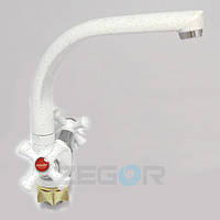 Смеситель для кухни Zegor DTZ4-D-KW (TLD-A827-W) двухвентильный высокий цвет белый