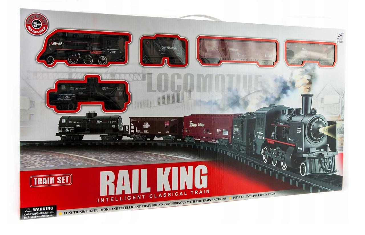 Детская железная дорога Большой Коллекционный торговый поезд с фонарем и дымом Roil King