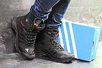 Мужские зимние ботинки черные с белым Adidas Climaproof 6855