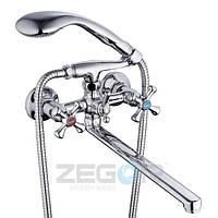 Смеситель для ванны Zegor DFU7 (DFU-A827) двухвентильный с душем цвет хром