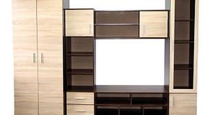 Стінка для вітальні з ДСП/МДФ (гостиная стенка) Латте горіх канадський/дуб сонома ВМВ Холдінг