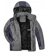 Мужская зимняя куртка серого цвета с капюшоном 1396Z