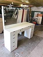 Профессиональный визажный стол для двух мастеров. Модель V272 белый, фото 1