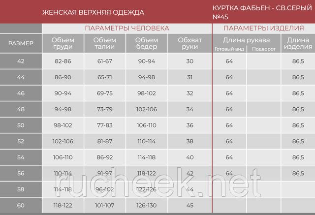 Таблица размеров верхняя одежда Нью вери