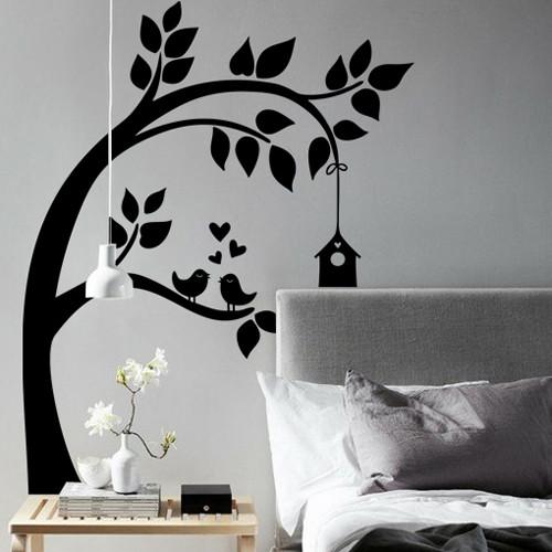 Интерьерная наклейка на обои Птичий домик (виниловая пленка оракал, дерево наклейка детская, декор стен)