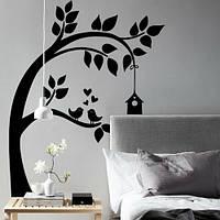 Интерьерная наклейка на обои Птичий домик (виниловая пленка оракал, дерево наклейка детская, декор стен), фото 1