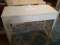 Столик для мастеров маникюра, стационарный, с фигурной боковой панелью. Модель V285 белый, фото 1
