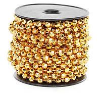 Бусы пластиковые фигурные, цвет - яркое золото, 8мм*10м (набор 12 шт )