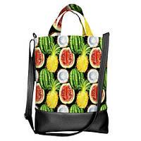Городская сумка City Тропические фрукты черная 34х40х11 см (SCB_CLF001_BL)