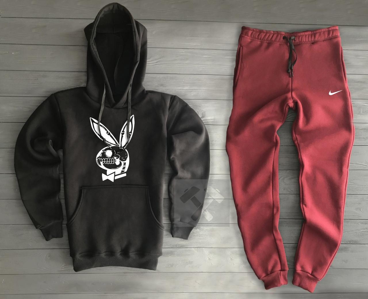 9bead52f93a63 Костюм спортивный Nike черно-бордового цвета с капюшоном топ реплика, цена  760 грн., купить в Киеве — Prom.ua (ID#837024264)