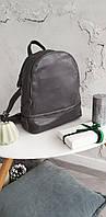 Кожаный классический рюкзак-трансформер серого цвета АРТ. 023