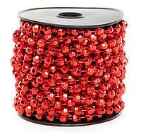 Бусы пластиковые фигурные, цвет - красный, 8мм*10м (набор 12 шт)