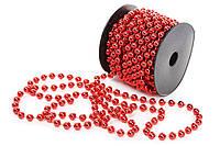 Бусы пластиковые, цвет - красный, 8мм*10м  (набор 12 шт)