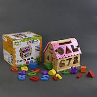 Деревянный домик сортер цифры и фигуры