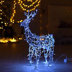 Гирлянда внешняя Adenki Олень новогодний светодиодный 70 см Голубой 5-70BLUE, КОД: 258208