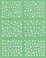 Наклейки для ногтей снежинки лист