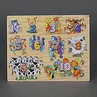 Деревянная игра вкладыши Цифры и Животные, фото 1