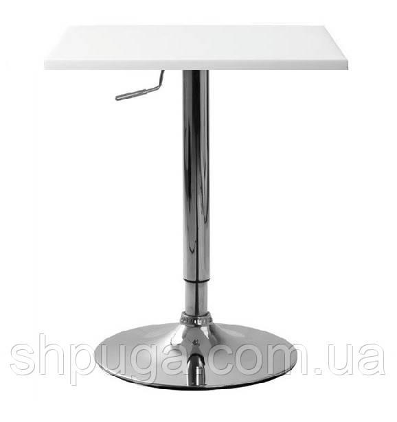 Стол барный Али-S, регулируемый, белый, 60*60 cm, высота 92 см
