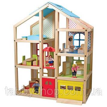 Деревянный кукольный домик Melissa & Doug с подъемником и мебелью