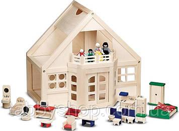 Деревянный кукольный домик Melissa & Doug с мебелью