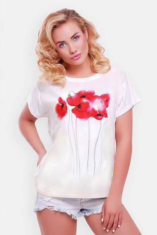 """Жіноча біла футболка """"Air"""" принт Маки, фото 2"""