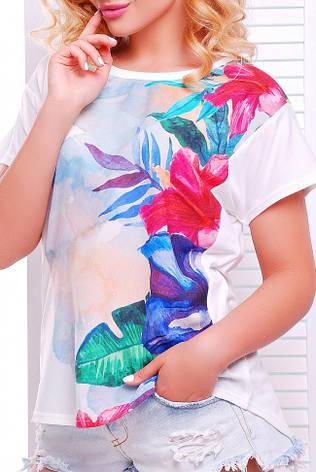 """Жіноча футболка """"Air"""" з яскравим квітковим принтом, фото 2"""
