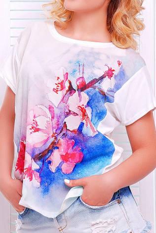 """Жіноча біла футболка """"Air"""" з річним принтом, фото 2"""