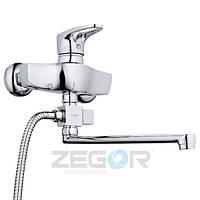 Смеситель для ванны Zegor GKE (GKE-A180) однорычажный с душем с длинным изливом цвет хром