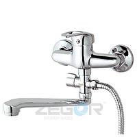 Смеситель для ванны Zegor NHK6-C (LOP-C043) однорычажный с душем с длинным изливом цвет хром