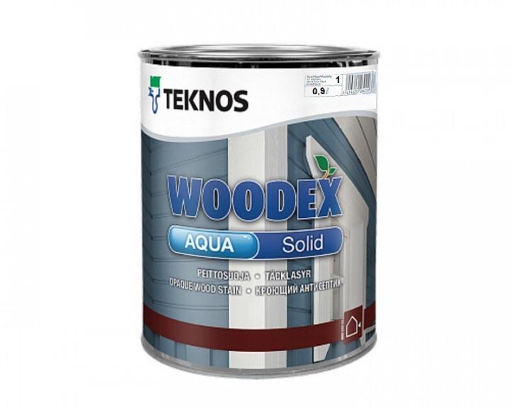 Краска антисептическая TEKNOS WOODEX AQUA SOLID для деревянных фасадов (под тонировку) 0,9 л