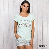 Комплект-двойка женский  футболка и шорты с принтом