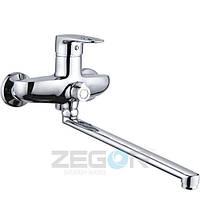 Смеситель для ванны Zegor NGB (NGB-A185) однорычажный с душем с длинным изливом цвет хром