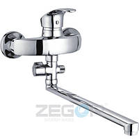 Смеситель для ванны Zegor LYB (LYB-A111) однорычажный с душем с длинным изливом цвет хром