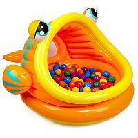 """Детский надувной бассейн """"Ленивая рыбка"""" с шариками."""