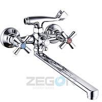 Смеситель для ванны Zegor DFR7-B (DFR-B772) двухвентильный с душем с длинным изливом цвет хром