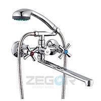 Смеситель для ванны Zegor DMT7-B (DMT-B722) двухвентильный с душем с длинным изливом цвет хром