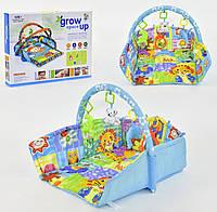 Развивающий коврик для младенцев музыка голубой