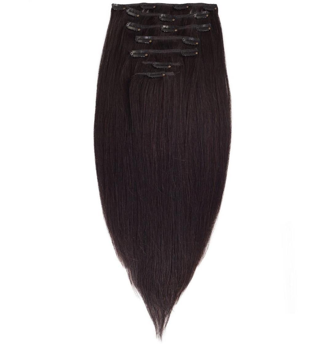 Волосы на заколках 50 см. Цвет #1В Натуральный Черный, фото 1