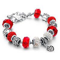 Браслет в стиле Pandora Пандора Сердце (реплика) - красный, копия Пандоры, с доставкой по Киеву и Украине