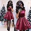 Атласное платье с пышной юбкой и карманами, фото 2