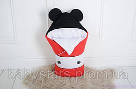 """Демисезонный конверт одеяло для новорожденного """"Микки Маус"""", на трикотаже"""