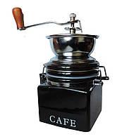 Кофемолка квадратная ручная черная керамика