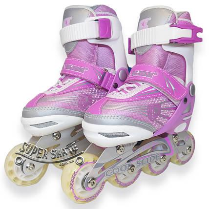 Детские раздвижные ролики - Cool Slide - Розовый 27-30 р., фото 2