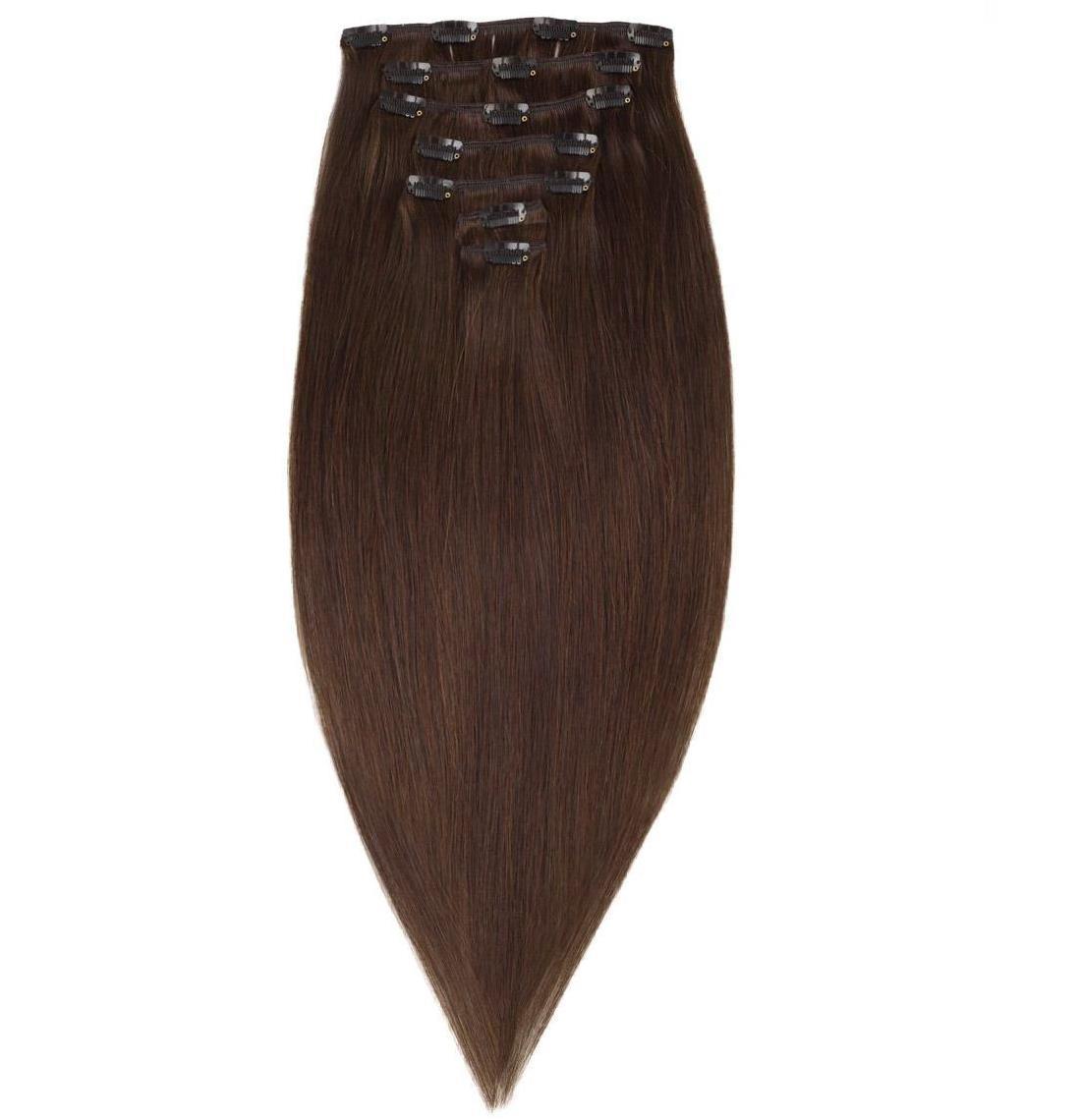 Волосся на заколках 50 см. Колір #02 Темно-Коричневий