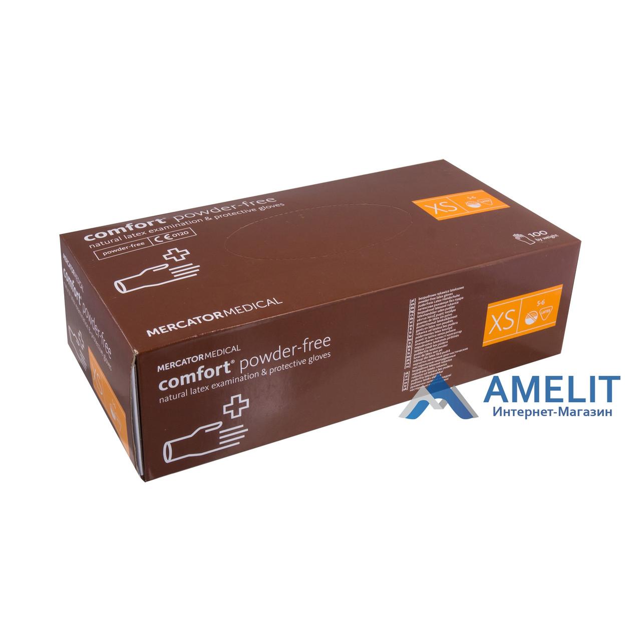Перчатки латексные Комфорт ПФ (Comfort PF, Mercator Medical), бежевые, размер «XS», 50пар/упак.