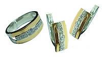 Срібний гарнітур із золотими вставками каблучка та сережки із сімома білими фіанітами, фото 1