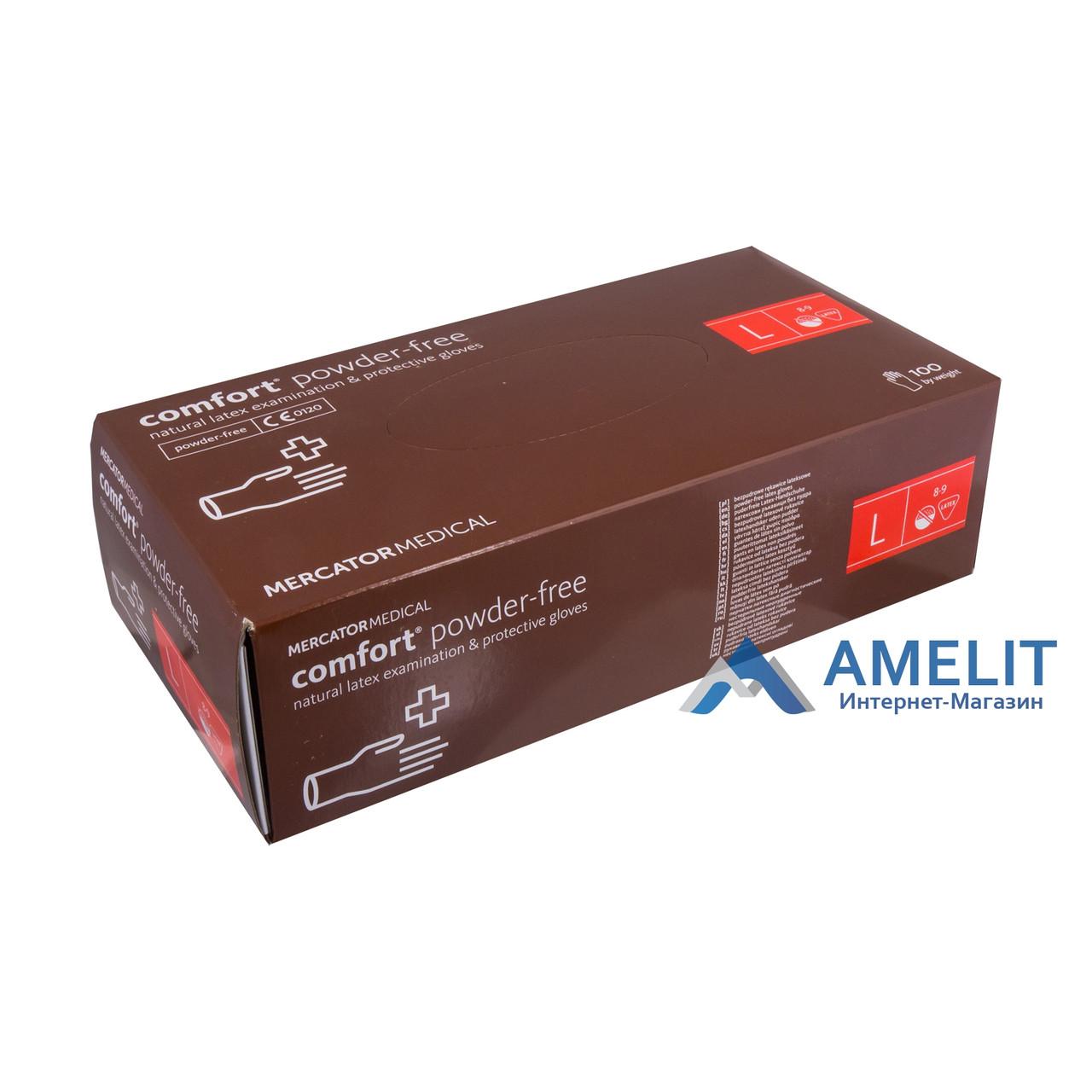 Перчатки латексные Комфорт ПФ (Comfort PF, Mercator Medical), бежевые, размер «L», 50пар/упак.
