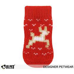 Теплые носки с оленями для собак